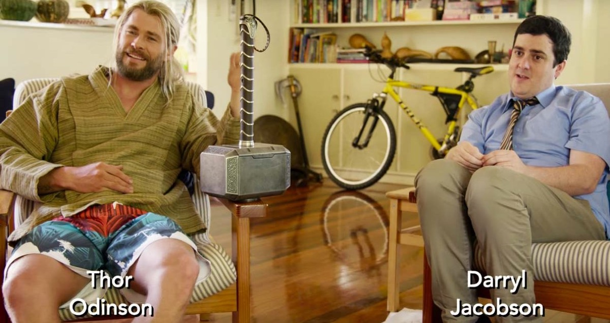 Thor and Darryl doing an interview together as roommates.