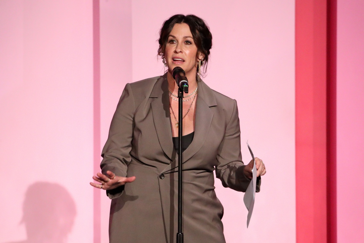 LOS ANGELES, CALIFORNIA - DECEMBER 12: Alanis Morissette accepts the Icon Award onstage during Billboard Women In Music 2019, presented by YouTube Music, on December 12, 2019 in Los Angeles, California. (Photo by Rich Fury/Getty Images for Billboard)