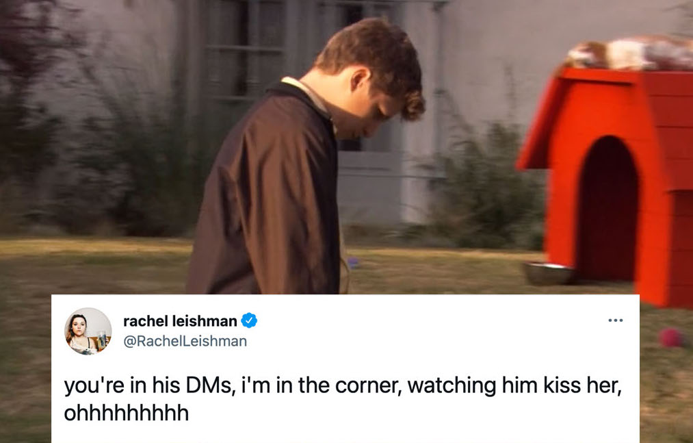 """George Michael Bluth walking sadly on Arrested Development, with a tweet superimposed reading """"You're in his DMs, I'm in the corner, watching him kiss her, ohhhhh."""""""