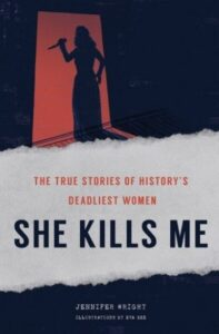 """Book cover for """"She kills me"""" featuring women in the doorway with a KNIFE.  (Image: Abrams Image.)"""