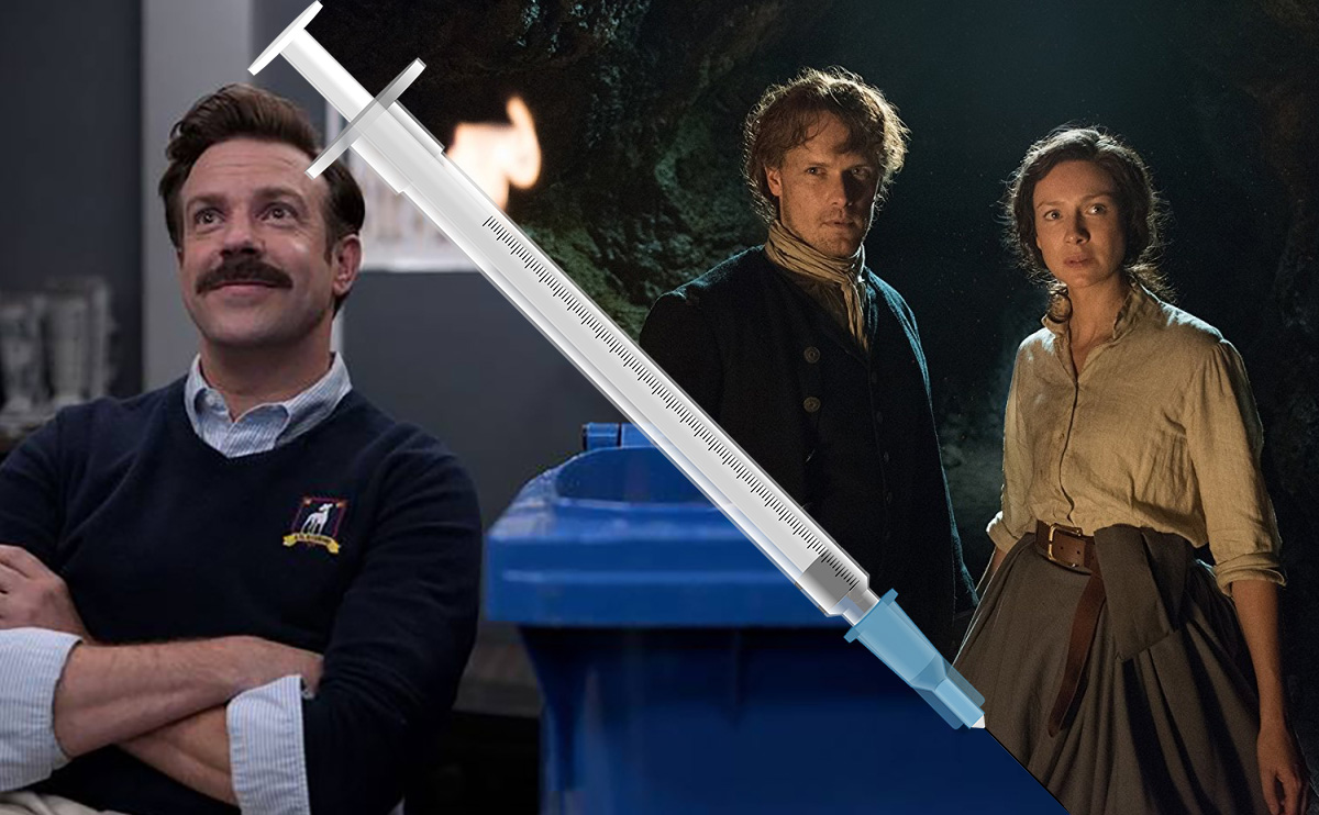 Ted Lasso Show and Outlander Show separated by a needle. (Image: Apple+ and Starz.)
