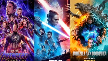 Movie posters for Marvel's Avengers: Endgame, Star Wars: The Rise of Skywalker, and Godzilla vs. Kong.