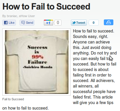 How To Fail To Succeed (or How To Succeed At Failing To Give Your Article An Indicative Title)